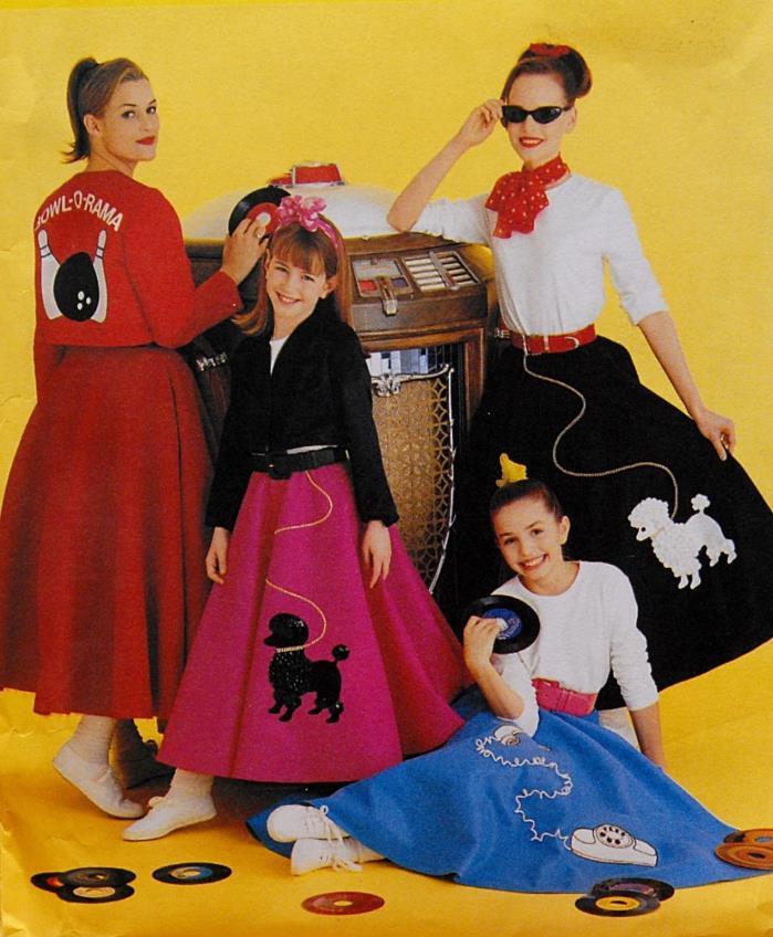 McCalls M6234 Misses Poodle Circle Skirt Top Jacket Scarf MED 12-14 Pattern U/C