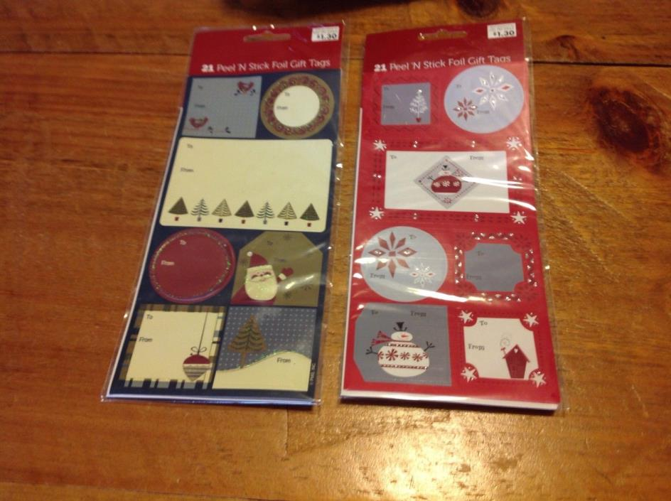 21 PEEL 'N STICK FOIL CHRISTMAS GIFT TAGS Set Of 2 Packages