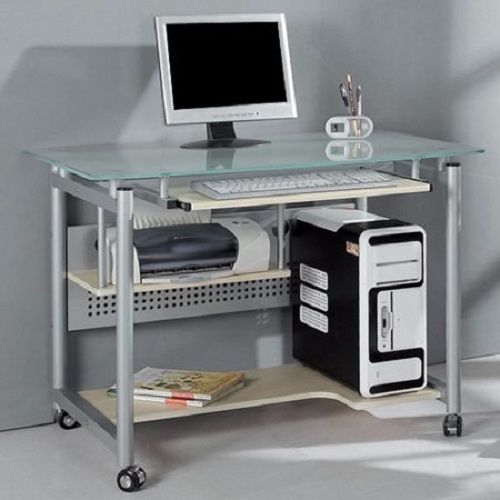 Glass Computer Desk Table Laptop Student Rolling Metal Shelf Office Furniture