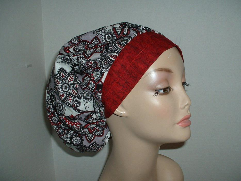 Gothic Paisley Gray Scarlet Black OR Surgical Bouffant Scrub Hat CNOR CRNA