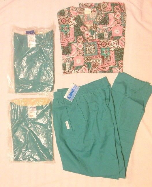 (4) SCRUBS LOT, (1) TREND TOP (2) LANDAU TOPS (1) LANDAU PANTS SIZE XL