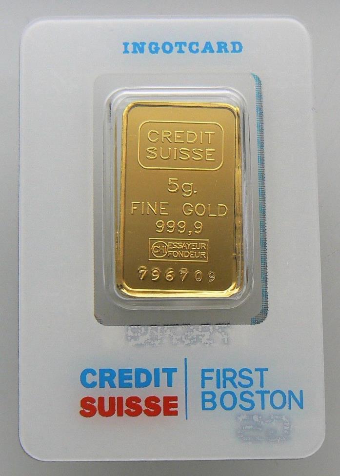 5 GRAM CREDIT SUISSE 24K GOLD BAR .9999  BAR #796709