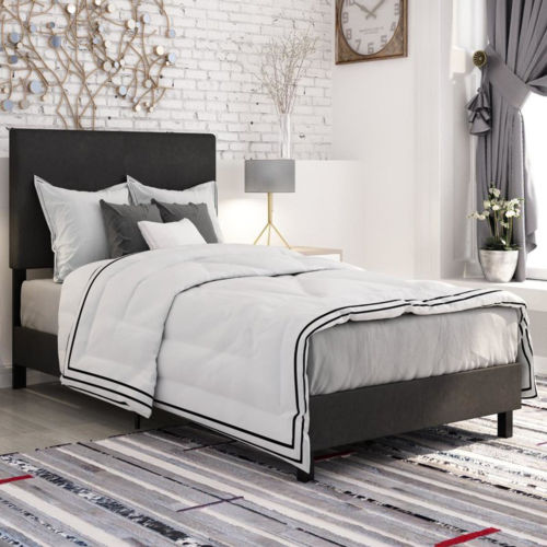 Upholstered Bed Frame Twin Size Panel Bedroom Furniture Headboard Modern Black
