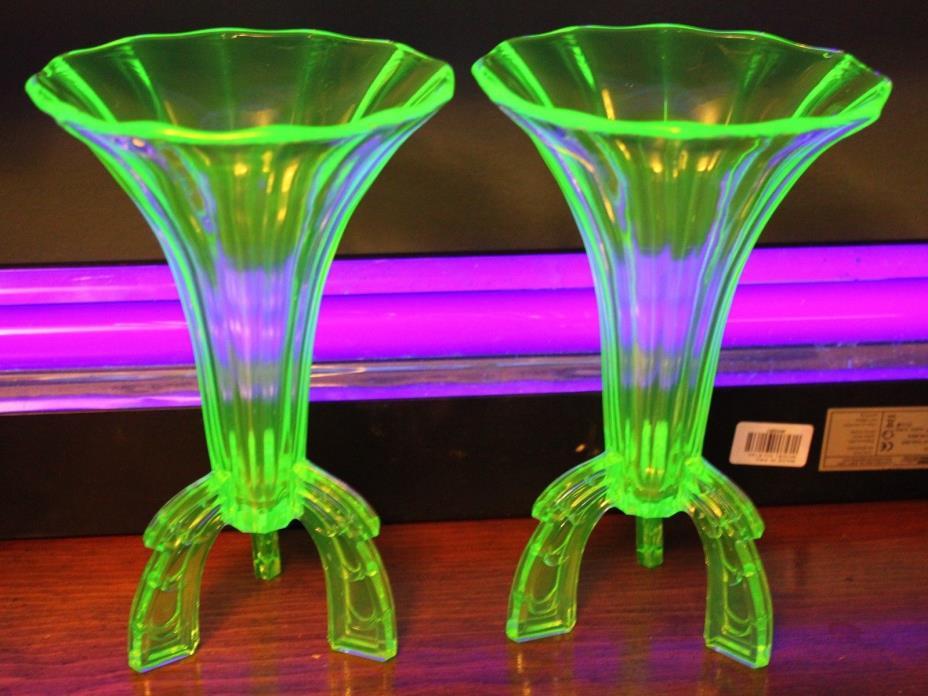 Vintage 1920's Czech Vaseline Uranium Glass  pair Art Deco Rocket Vase