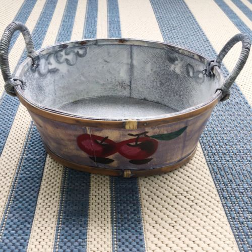 VINTAGE Fruit Blue Basket Apples Box Interior Decor Home Kitchen Country Cottage