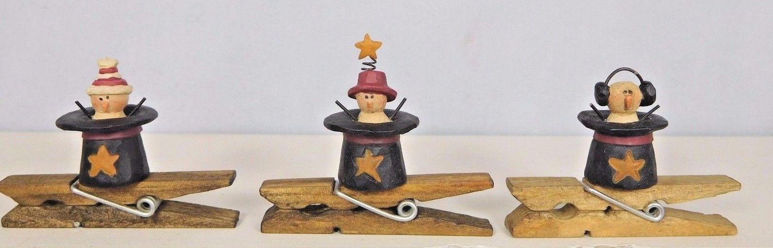 Set of 3 cute snowmen in star hat clip ornaments  - New Blossom Bucket #50145