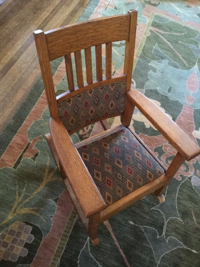 Antique Child's Mission Oak Rocking Chair Rocker Stickley Era