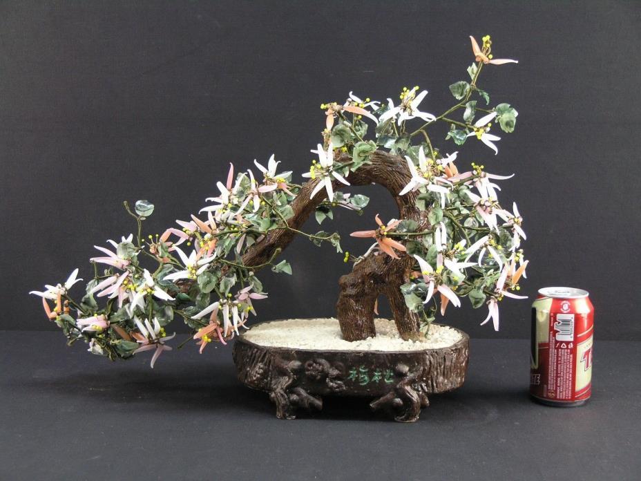 VNTG ARTIFICIAL JADE ROSE & WHITE QUARTZ STONE POT BLOSSOM TREE 22