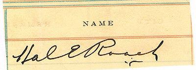 Hal Roach clipped signature. COA UACC