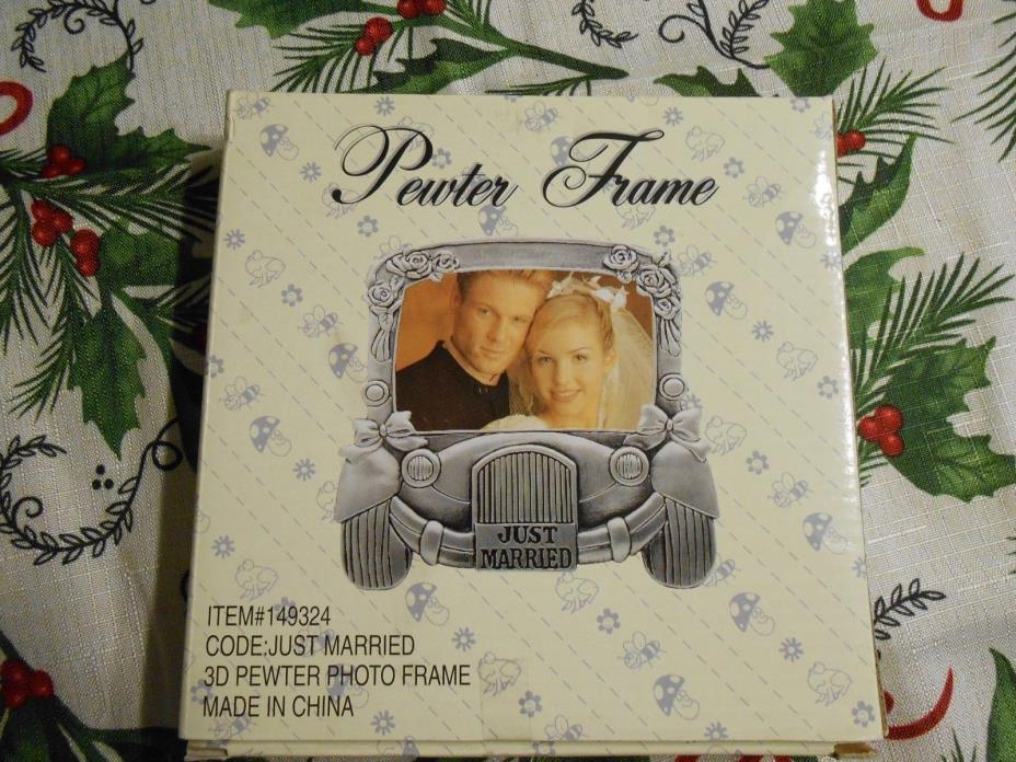 Pewter Frame picture frame just married wedding 149324