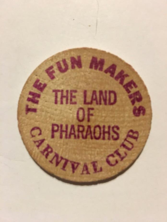 Vintage (The Fun Makers Carnival Club 68) WOODEN Mardi Gras Doubloon#wg