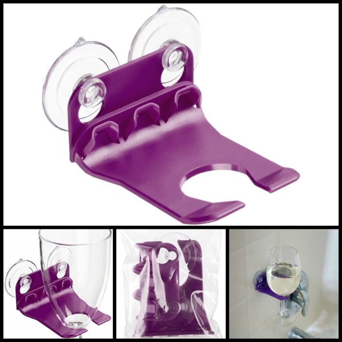 Bathtub & Shower Wine Glass Holder w/ Suction Cups Wall Carry Caddy Purple New