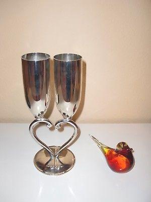 ~WEDDINGSTAR~SILVER CHAMPAGNE WEDDING PAIR FLUTES INTERLOCKING HEART DESIGN 9.5