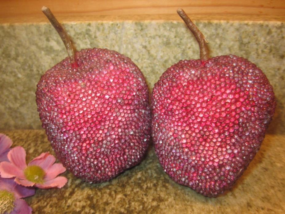 Vintage Set of 2 Sugar Coated Glass Beaded Artificial Fruit Apples EUC
