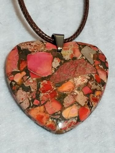 orange sea sediment jasper heart pendant love FREE SHIPPING