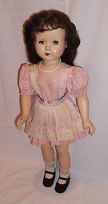 Effanbee Honey walker doll 18 inches tall brunette pink white original dress