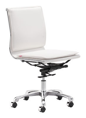 Zuo Lider Plus Modern Armless Office Chair in White Finish 215219