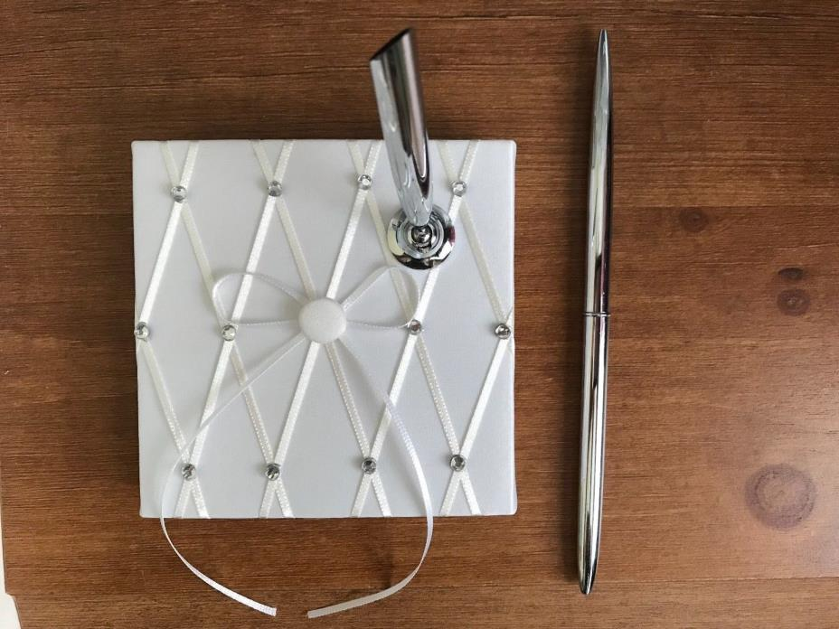 Guest Book Pen Wedding Pen AND Holder White