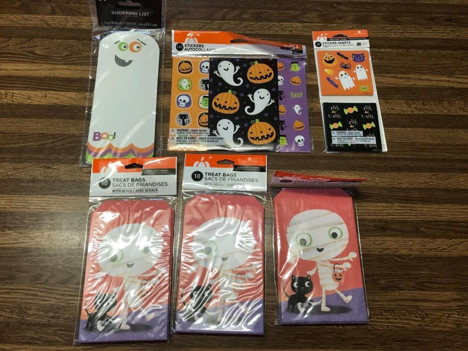 NEW Mixed LOT Halloween Items Treat Bags, Stickers & More