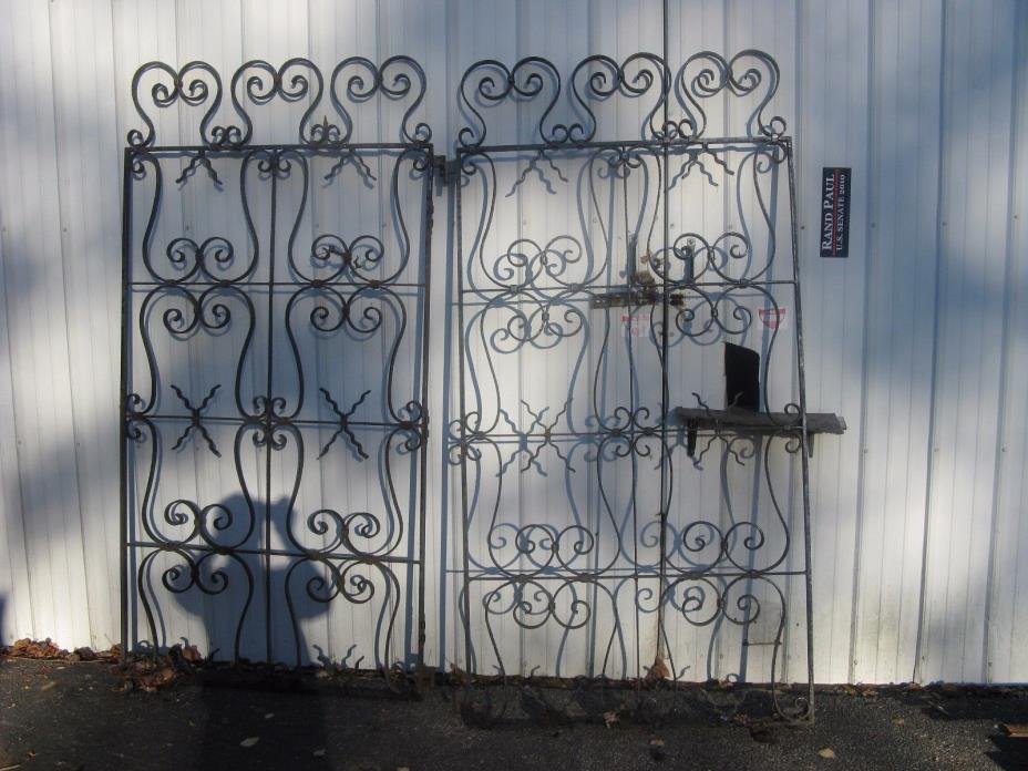 PAIR OF HEAVY GATES -WROUGHT IRON --HEAVY 82 INCHES TALL AND 84 INCH TOTAL WIDTH