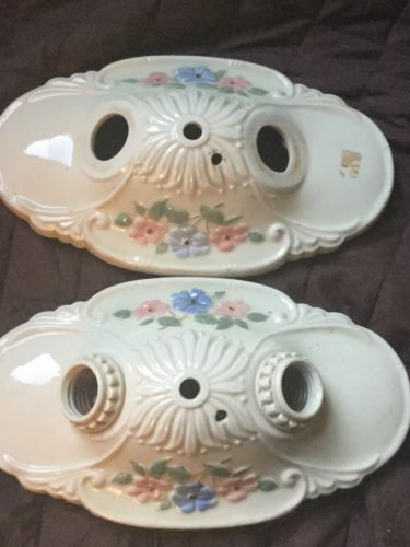 Antique Pair Porcelain Porcelier Double Light Fixture