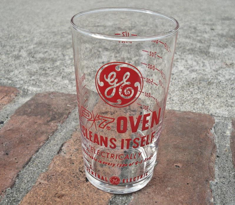 Vintage GE General Electric P7 Oven Advertising Measuring Cup Glass CLEAN