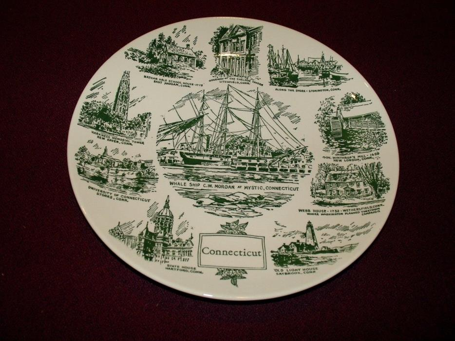 Rare Collector Ceramic Connecticut Plate , Kettlespings Kilns, circa 1950
