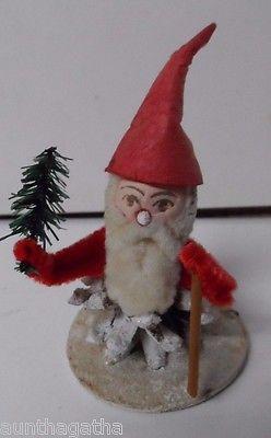 Vintage Christmas Pinecone Elf w Spun Cotton Head