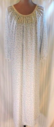 Vintage 80's Miss Elaine nightgown long sleeve LARGE White pink floral NICE