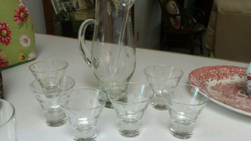 Etched Martini pitcher, stirrer, & 6 glasses ~ GORGEOUS SET