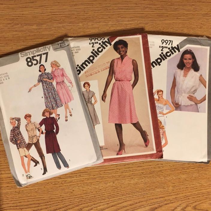 Lot of 3 Simplicity Sewing Patterns #8577, #9905, #9971 size 6 & 8