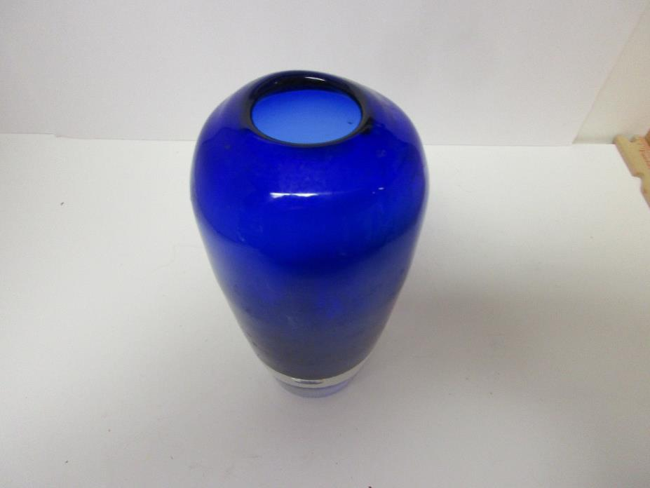 Beautiful Vintage Solid Glass Dark Blue Cobalt Vase, Very Heavy, Excellent Shape