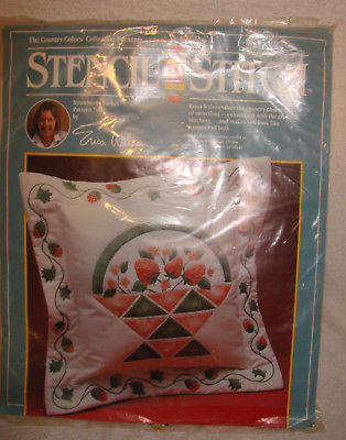 Vintage Stencil Stitch Erica Wilson Strawberry Basket 7002 Kit Country Colors