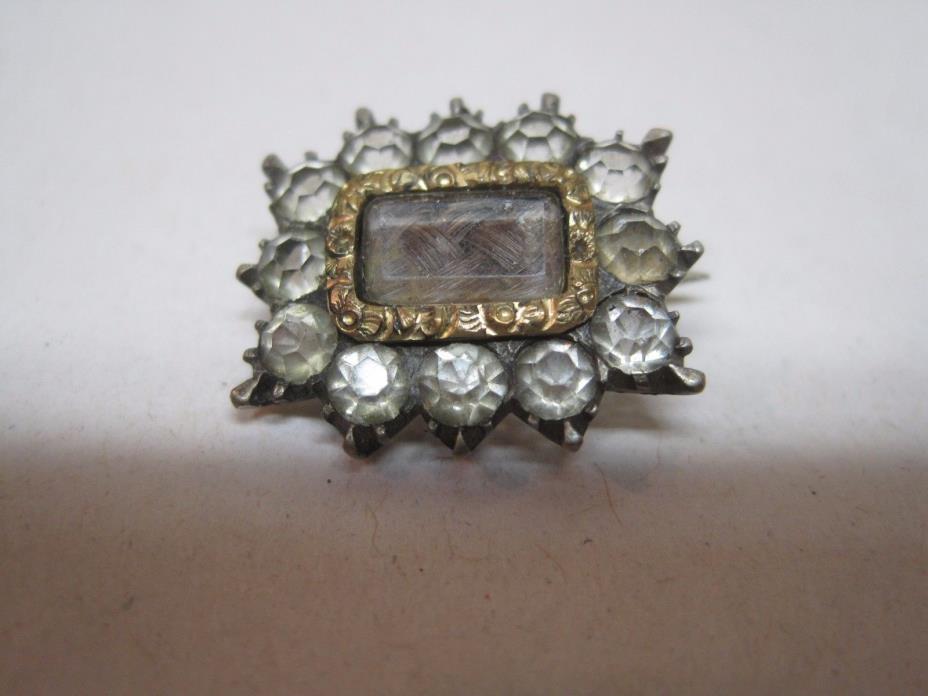 Antique Georgian Hair Brooch/Pin Clear Cut Glass Paste Stones