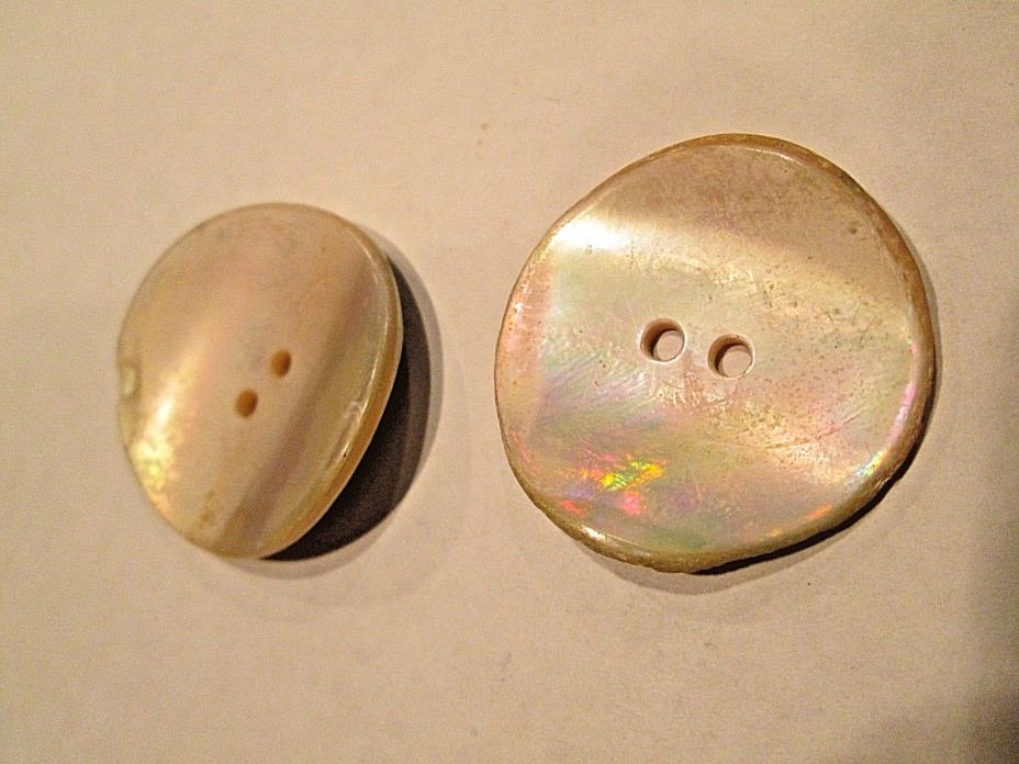 Antique Mother of Pearl  Buttons, Two Hole, Set of 2, 1 1/4