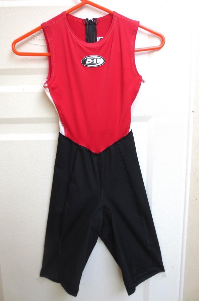 Skin Suit De Soto Womens Sz Med Cycling Triathlon - Padded - Back Zip Sleeveless