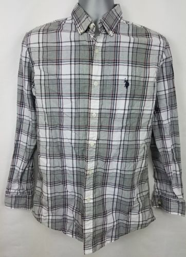US Polo Assn. Mens Gray White Button Down Collared Shirt Size S Small