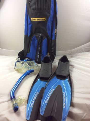 US Divers Fin Set, Dry Snorkel, Mask Body Glove Strap, Bag, Size 5-6.5