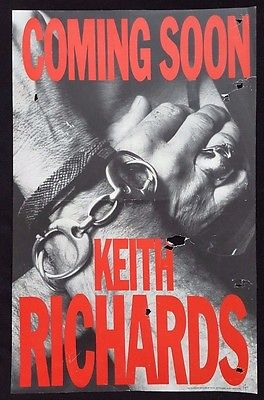 KEITH RICHARDS Original Album Promo Poster 1988 LA Rolling Stones VERY RARE!