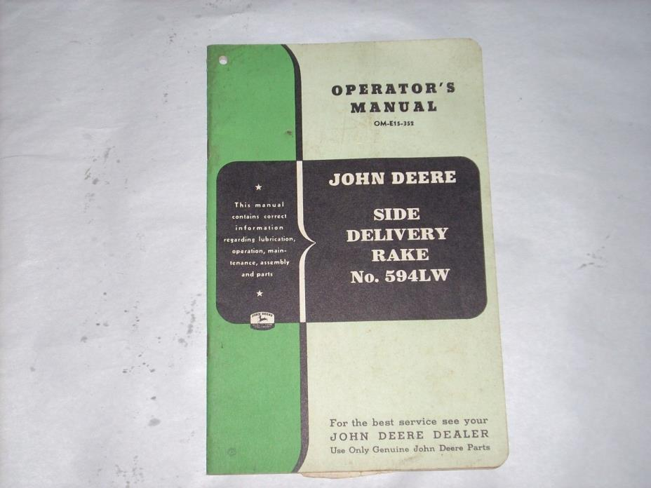 Original Operators Manual For John Deere Side Delivery Rake No. 594LW