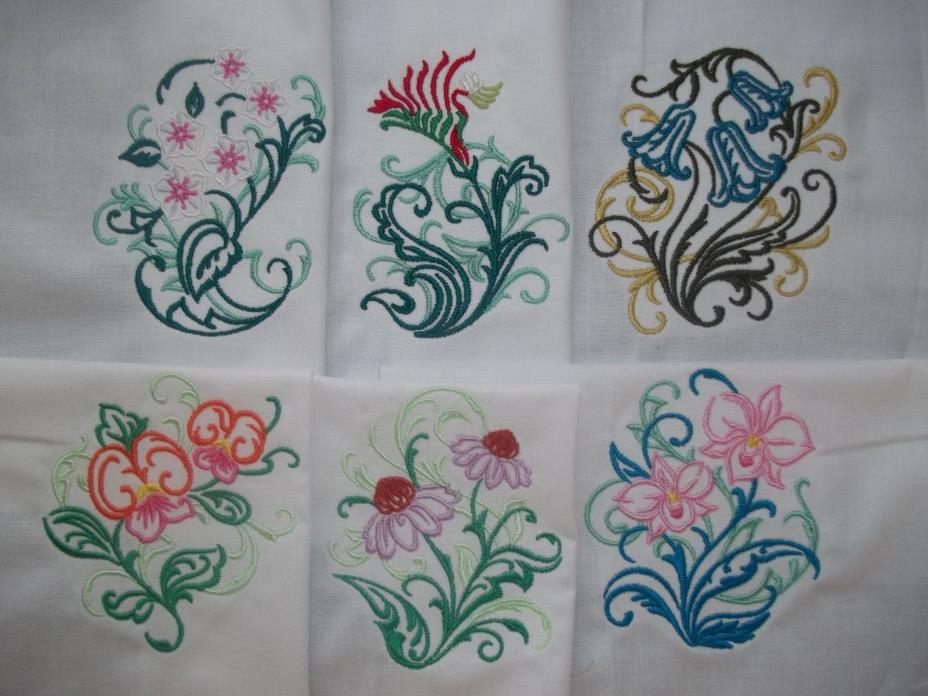 EMBROIDERED BEAUTIFUL FLORAL DESIGNS WITH A SWIRLING FILAGREE ACCENT - SET #3