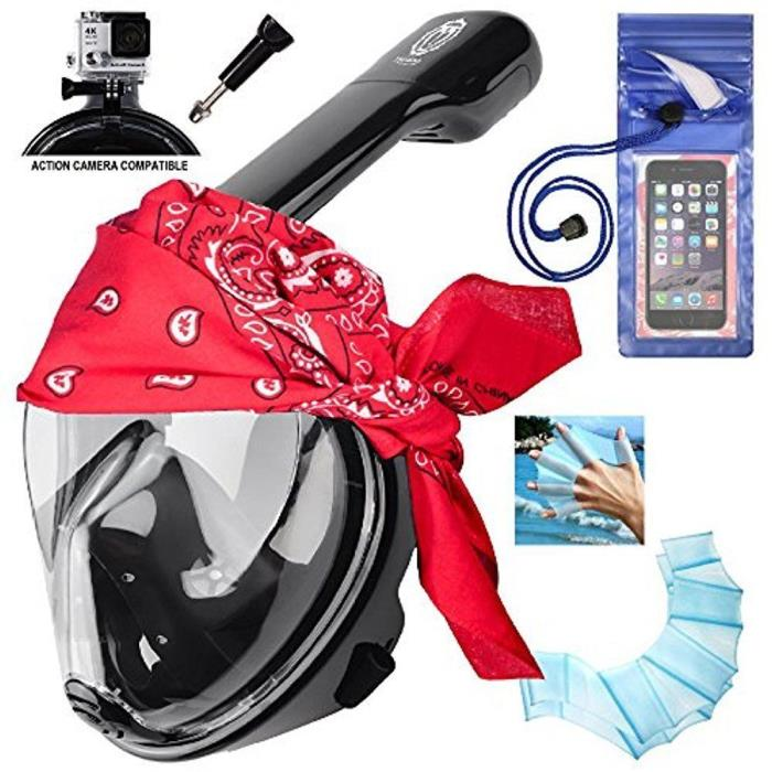 Full Face Snorkel Mask 180° Panoramic Scuba Diving Snorkeling Set *ADDED Extras*