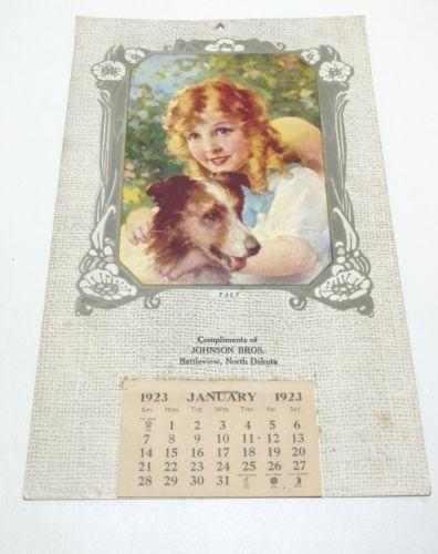 1923 Johnson Brothers Calendar, Battleview North Dakota