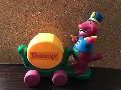 HTF BARNEY THE DINOSAUR BAND DRUM CONDUCTOR FIGURE CAKE TOPPER DECORATION PLAY