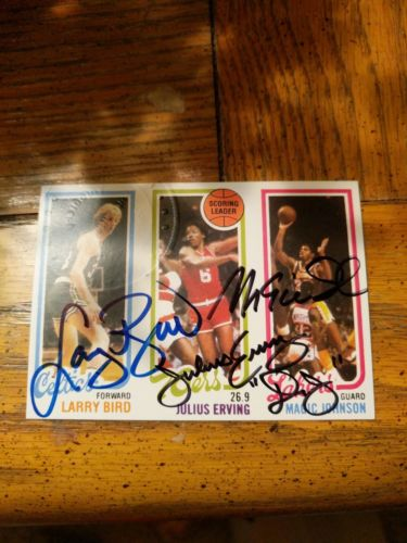 Larry BIRD MAGIC Johnson ERVING Incredible 1996 Scoreboard Auto Goldin COA