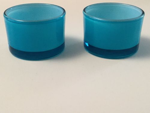 NWT Crate & Barrel Pop Tealight Turquoise # 551-948 Glass Candle Holders