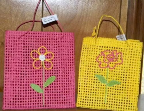 Avon 2-pc Easter Spring tote Gift bag, pink & yellow, 2 sets (total 4) New