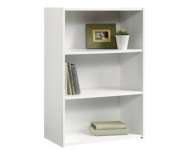 Sauder Beginnings 3-Shelf Adjustable White Bookcase Pictures Sturdy Decor CD/DVD