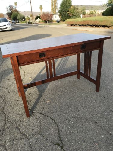 Crate and Barrel wooden table with latched front drawer