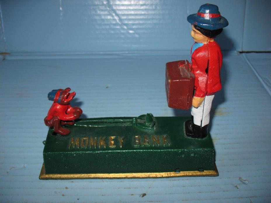 Cast Iron Organ Grinder Monkey Bank